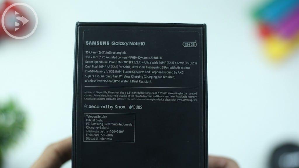 Back Box - Unboxing Samsung Galaxy Note10 Warna Aura Black Indonesia di Tahun 2020 - Harga Barunya Sudah Turun