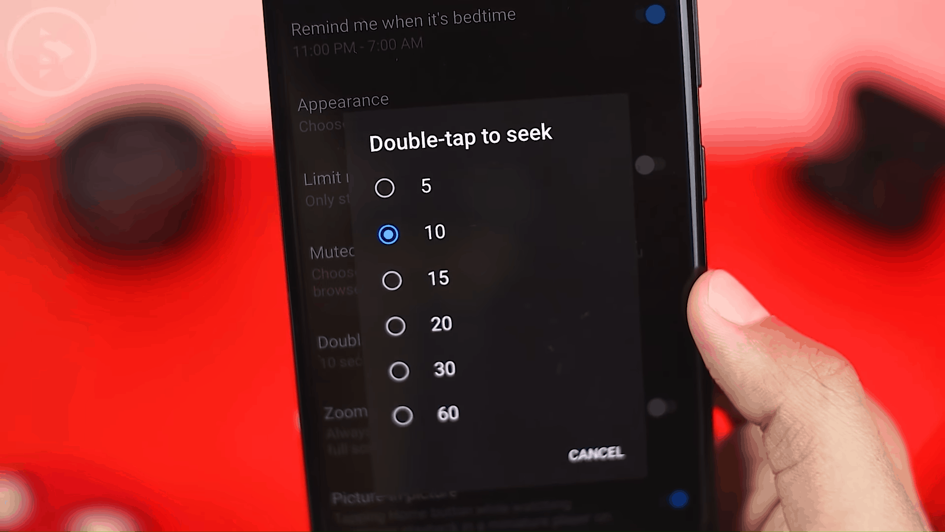 Change Double Tap to Seek Duration