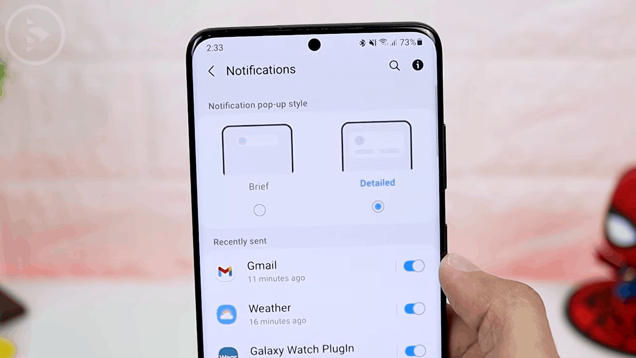 Edge Lighting with Detailed Notification