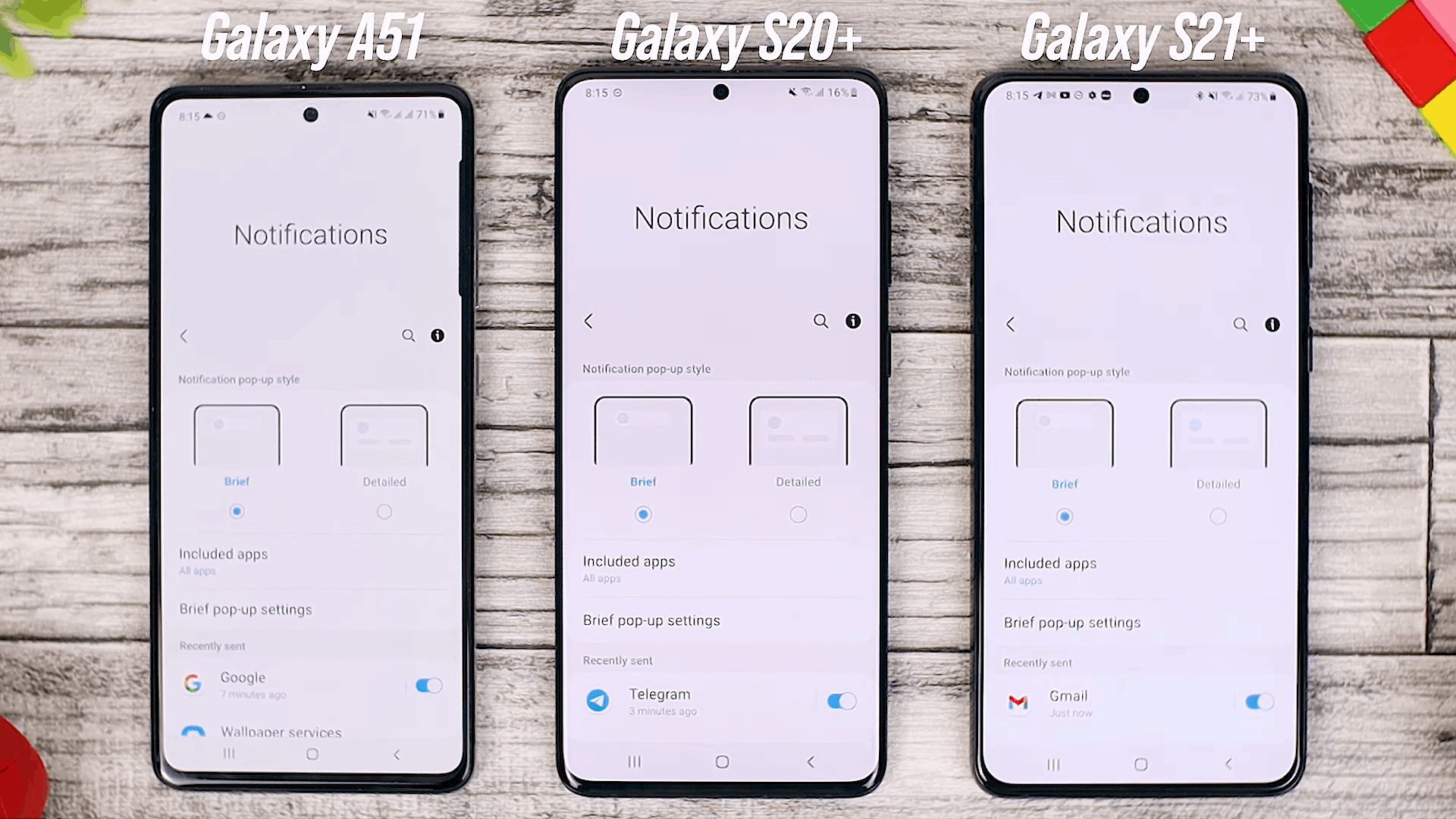 Brief Notification Option - Fitur One UI 3.0 di Galaxy A51 dan Perbandingannya dengan Galaxy S20+ dan One UI 3.1 di Galaxy S21+