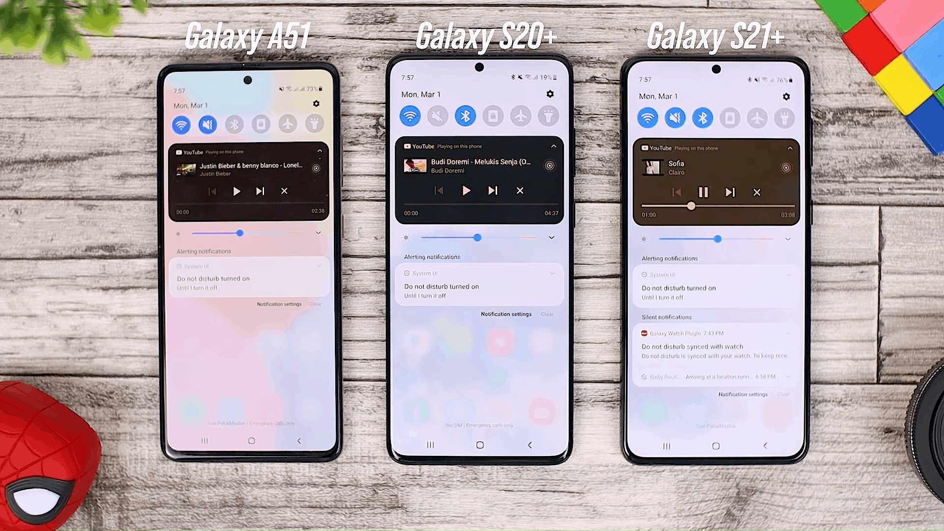 New Feature in Media Control - Fitur One UI 3.0 di Galaxy A51 dan Perbandingannya dengan Galaxy S20+ dan One UI 3.1 di Galaxy S21+