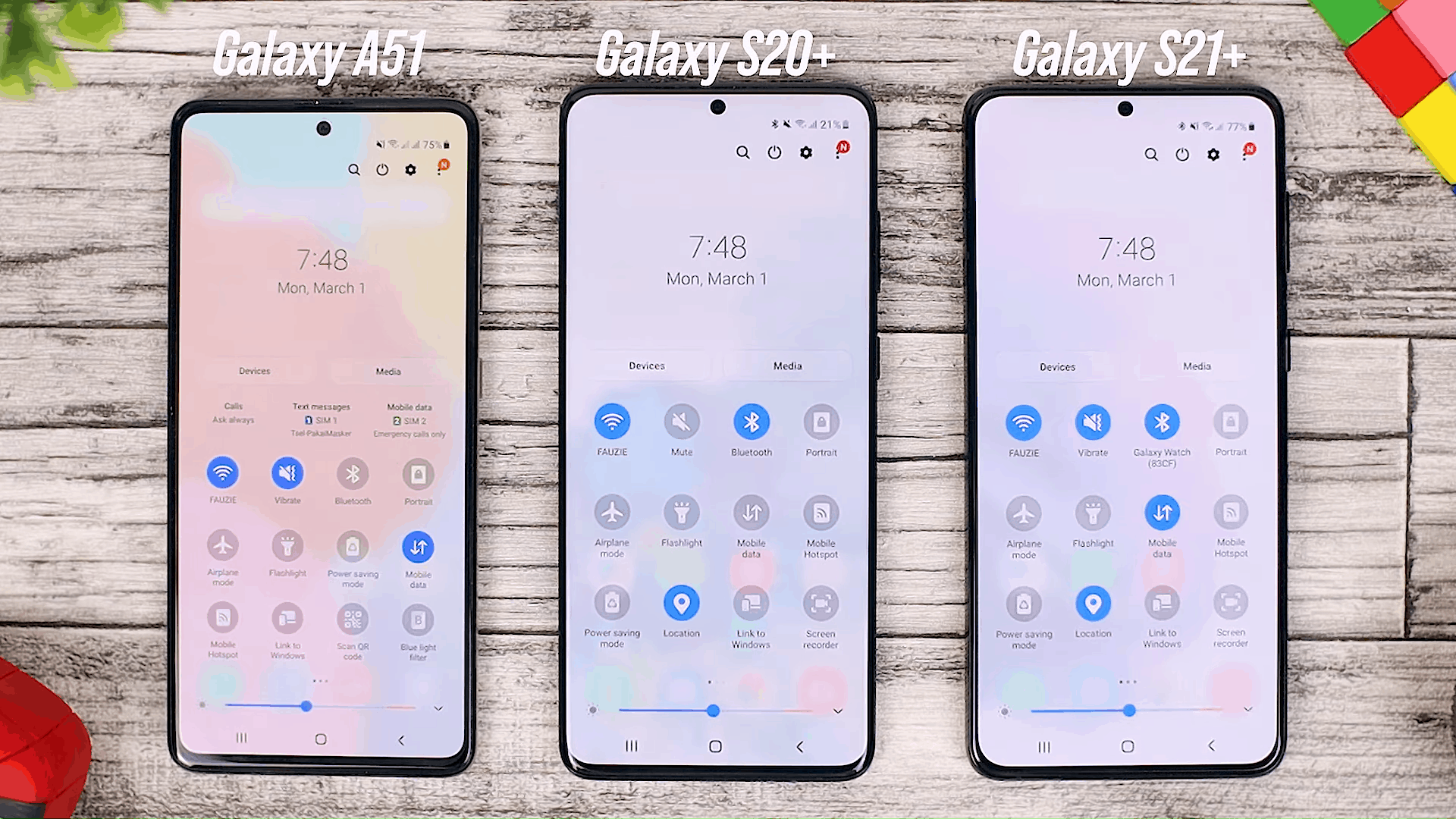 Notification Panel - Fitur One UI 3.0 di Galaxy A51 dan Perbandingannya dengan Galaxy S20+ dan One UI 3.1 di Galaxy S21+